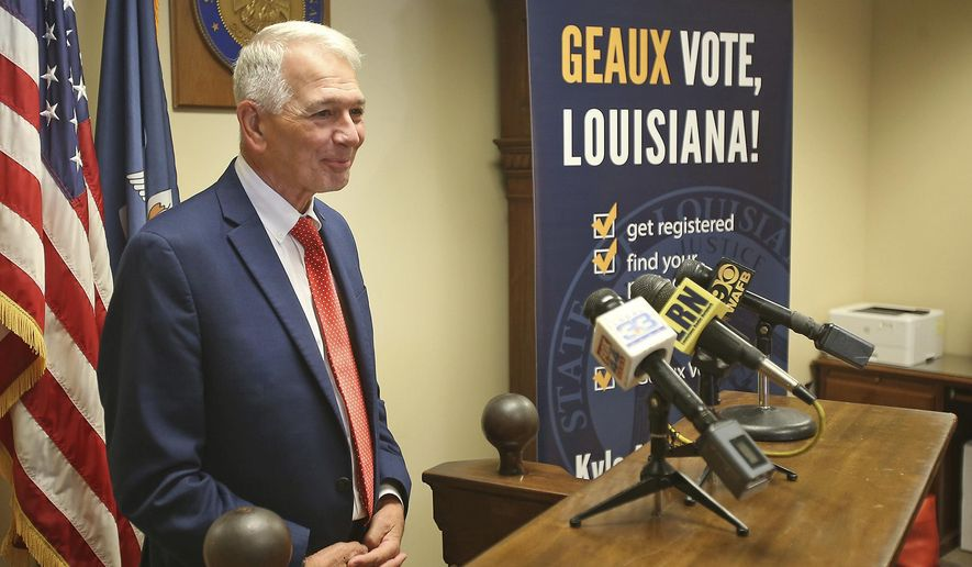 Gubernatorial candidate Ralph Abraham addresses the media at the Louisiana Secretary of State's office after signing up to run in the upcoming election, in Baton Rouge, La., Tuesday, Aug. 6, 2019. The candidate sign-up period for Louisiana's statewide elections ends Thursday, with the governor's race at the top of the ballot. (AP Photo/Michael DeMocker)