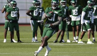 New York Jets wide receiver Quincy Enunwa participates in a practice at the NFL football team's training camp in Florham Park, N.J., Friday, July 26, 2019. (AP Photo/Seth Wenig)