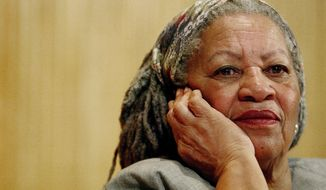 FILE - In this Nov. 25, 2005 file photo, author Toni Morrison listens to Mexicos Carlos Monsivais during the Julio Cortazar professorship conference at the Guadalajara's University in Guadalajara City, Mexico.  The Nobel Prize-winning author has died. Publisher Alfred A. Knopf says Morrison died Monday, Aug. 5, 2019 at Montefiore Medical Center in New York. She was 88.  (AP Photo/Guillermo Arias, File)