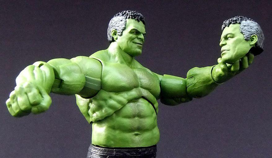Hasbro's Marvel Legends: Avengers' Professor Hulk Build-A-Figure include two head sculpts. (Photograph by Joseph Szadkowski / The Washington Times)