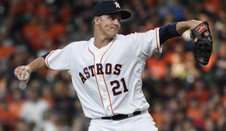 Houston Astros starting pitcher Zack Greinke delivers during the first inning of the team's baseball game against the Colorado Rockies, Tuesday, Aug. 6, 2019, in Houston. (AP Photo/Eric Christian Smith)