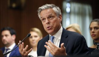 In this Sept. 19, 2017, file photo, former Utah Gov. Jon Huntsman testifies during a hearing of the Senate Foreign Relations Committee on his nomination to become the U.S. ambassador to Russia, on Capitol Hill in Washington. Huntsman has resigned from his post as the U.S. Ambassador to Russia and is planning to move back to Utah in October. (AP Photo/Alex Brandon)