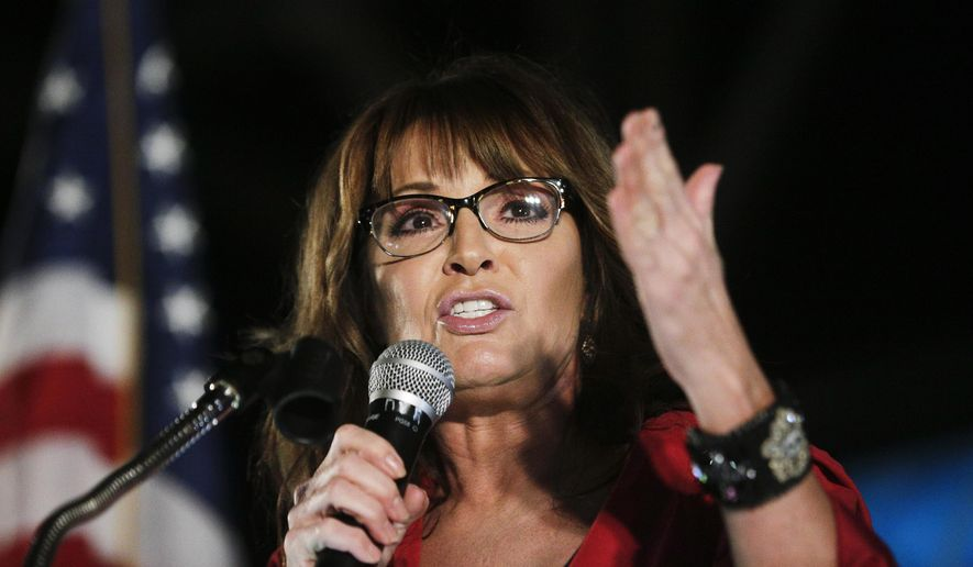 In this Sept. 21, 2017, photo, former vice presidential candidate Sarah Palin speaks at a rally in Montgomery, Ala. (AP Photo/Brynn Anderson) **FILE**