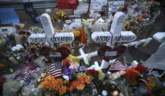 Crosses bear the names of the people killed at a Walmart Saturday during a memorial Monday, Aug. 5, 2019, in El Paso, Texas. (Mark Lambie/The El Paso Times via AP)