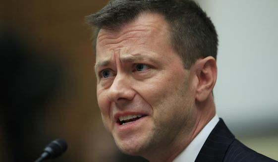 """In this July 12, 2018, file photo, then-FBI Deputy Assistant Director Peter Strzok, testifies before a House Judiciary Committee joint hearing on """"oversight of FBI and Department of Justice actions surrounding the 2016 election"""" on Capitol Hill in Washington. (AP Photo/Manuel Balce Ceneta) ** FILE **"""