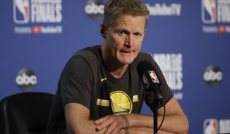 FILE - In this June 5, 2019, file photo, Golden State Warriors head coach Steve Kerr speaks at a news conference after Game 3 of basketball's NBA Finals against the Toronto Raptors in Oakland, Calif. Kerr knows that a new era of Warriors basketball is about to begin. He just doesn't know what that means yet. (AP Photo/Ben Margot, File)