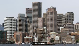 The USS Constitution glides through Boston Harbor past the city skyline on a cruise to honor Vietnam veterans, Friday, May 18, 2018, in Boston.  (AP Photo/Bill Sikes) **FILE**
