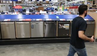 This May 21, 2018, file photo shows a row of dishwashers for sale at Lowe's Home Improvement store in East Rutherford, N.J. (AP Photo/Ted Shaffrey)