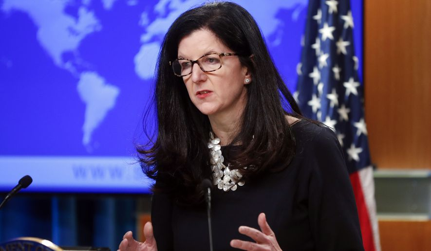 Kimberly Breier, Assistant Secretary of State for Western Hemisphere Affairs, gestures during a news conference at the State Department in Washington, Wednesday, April 17, 2019. The Trump administration announced that it's allowing lawsuits against foreign companies operating in properties seized from Americans in Cuba, a major policy shift that has angered European and other allies.(AP Photo/Pablo Martinez Monsivais)