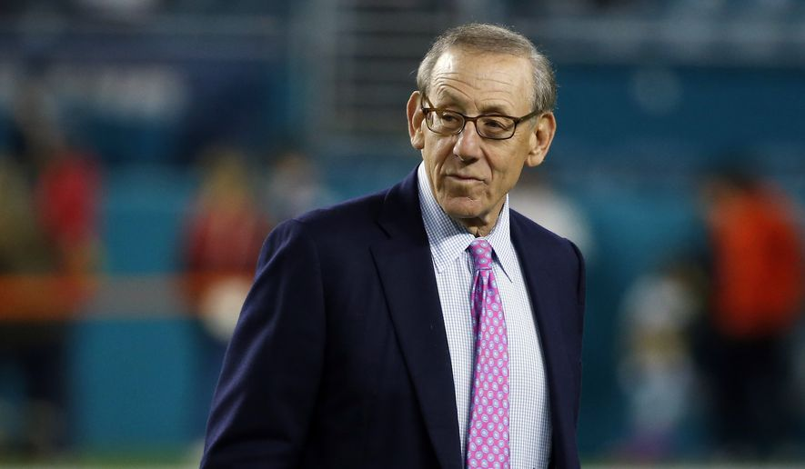 In this Dec. 11, 2017, file photo, Miami Dolphins owner Stephen M. Ross watches his team before an NFL football game against the New England Patriots in Miami Gardens, Fla.  Ross is defending his support of longtime friend Donald Trump after being criticized about it by one of his players. (AP Photo/Wilfredo Lee, File)
