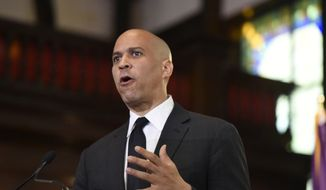 Democratic presidential candidate, Sen. Cory Booker, D-N.J.,speaks about gun violence and white supremacy in the sanctuary of Mother Emanuel AME on Wednesday, Aug. 7, 2019, in Charleston, S.C.  (AP Photo/Meg Kinnard)
