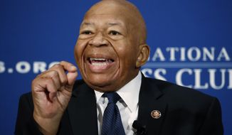 """Rep. Elijah Cummings, D-Md., speaks during a luncheon at the National Press Club in Washington, Wednesday, Aug. 7, 2019. Cummings says government officials must stop making """"hateful, incendiary comments'' that only to serve to divide and distract the nation from its real problems, including mass shootings and white supremacy. (AP Photo/Patrick Semansky)"""