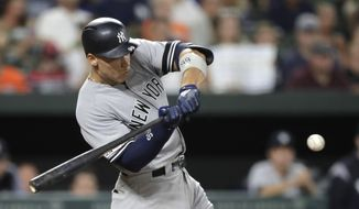 New York Yankees' Aaron Judge swings at a pitch from the Baltimore Orioles during the fourth inning of a baseball game, Tuesday, Aug. 6, 2019, in Baltimore. (AP Photo/Julio Cortez) ** FILE **