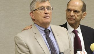 Robert M. Hoatson, president of Road to Recovery, left, talks about sexual abuse he endured as a child during a news conference as attorney Mitchell Garabedian looks on, Wednesday, Aug. 7, 2019 in West Orange, N.J. Garabedian named 12 Catholic New Jersey priests as those who had sexually abused children but who were not previously disclosed on lists the church released. (Kevin R. Wexler/North Jersey.com via AP)