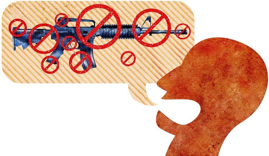 Shouting for Gun Ban Illustration by Greg Groesch/The Washington Times