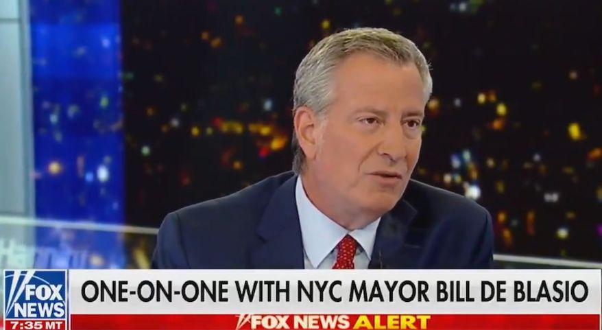 New York City Mayor Bill de Blasio discusses abortion with Fox News' Sean Hannity, Aug. 7, 2019. (Image: Fox News screenshot)