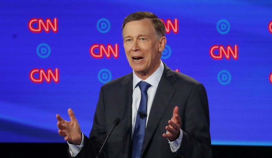 In this July 30, 2019, file photo, former Colorado Gov. John Hickenlooper speaks during the first of two Democratic presidential primary debates in Detroit. Pressure is mounting on former Hickenlooper to trade in his faltering presidential bid for a U.S. Senate run in his home state. (AP Photo/Paul Sancya, File)