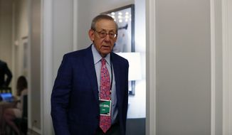 In this May 22, 2019, file photo, Miami Dolphins owner Stephen Ross arrives during the NFL owners meeting on Wednesday, May 22, 2019, in Key Biscayne, Fla. Luxury gym Equinox and indoor cycling studio Soul Cycle are facing a backlash from some members and celebrities over a fundraiser being held for President Donald Trump by one of their executives. Ross, chairman and founder of real estate development company The Related Cos., which owns Equinox and SoulCycle, threw the fundraiser on Friday, Aug. 9, 2019, at his house in the Hamptons. (AP Photo/Brynn Anderson, File)