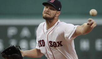 Boston Red Sox starting pitcher Chris Sale delivers to the Los Angeles Angels during the first inning of a baseball game at Fenway Park, Thursday, Aug. 8, 2019, in Boston. (AP Photo/Elise Amendola)