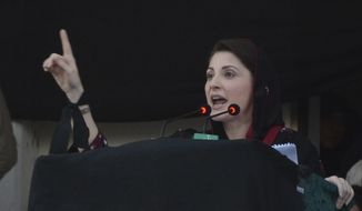 Maryam Nawaz, leader of Pakistan Muslim League and daughter of jailed former prime minister Nawaz Sharif addresses an anti-government rally in Quetta, Pakistan, Thursday, July 25, 2019. Thousands of supporters of Pakistan's opposition parties are rallying across the country, urging Prime Minister Imran Khan to step down over what they say is his failure in handling the nation's ailing economy. (AP Photo/Arshad Butt)