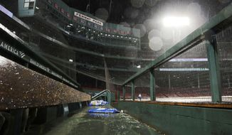 Heavy rain falls in a nearly empty Fenway Park during a weather delay in the 10th inning of a baseball game between the Boston Red Sox and the Kansas City Royals at Fenway Park in Boston, Wednesday, Aug. 7, 2019. (AP Photo/Charles Krupa)