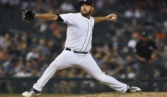 Detroit Tigers pitcher Matt Hall throws to a Kansas City Royals during the fourth inning of a baseball game Thursday, Aug. 8, 2019, in Detroit. (AP Photo/Jose Juarez)