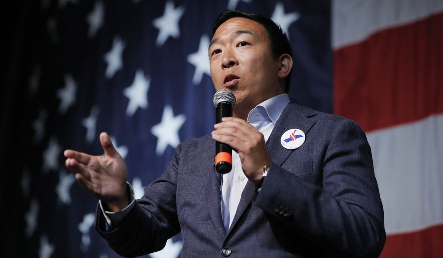 Democratic presidential candidate Andrew Yang speaks at the Iowa Democratic Wing Ding at the Surf Ballroom, Friday, Aug. 9, 2019, in Clear Lake, Iowa. (AP Photo/John Locher) ** FILE **