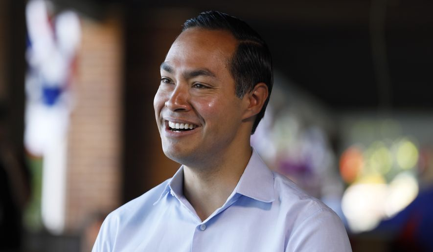 Democratic presidential candidate former U.S. Secretary of Housing and Urban Development Julian Castro speaks during an interview during a visit to the Iowa State Fair, Friday, Aug. 9, 2019, in Des Moines, Iowa. (AP Photo/Charlie Neibergall)