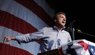 Democratic presidential candidate Montana Gov. Steve Bullock speaks at the Iowa Democratic Wing Ding at the Surf Ballroom, Friday, Aug. 9, 2019, in Clear Lake, Iowa. (AP Photo/John Locher)
