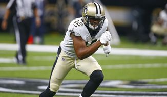 New Orleans Saints wide receiver Rishard Matthews (12) comes off the line in the second half of an NFL preseason football game against the Minnesota Vikings in New Orleans, Friday, Aug. 9, 2019. (AP Photo/Butch Dill) ** FILE **