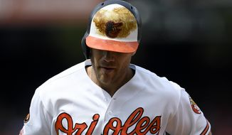 Baltimore Orioles' Chris Davis heads back to the dugout after flying out during the fourth inning of a baseball game against the Toronto Blue Jays, Sunday, Aug. 4, 2019, in Baltimore. (AP Photo/Nick Wass)