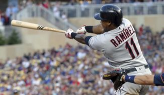 Cleveland Indians' Jose Ramirez follows through on an RBI single off Minnesota Twins pitcher Kyle Gibson during the fourth inning of a baseball game Thursday, Aug. 8, 2019, in Minneapolis. (AP Photo/Jim Mone)