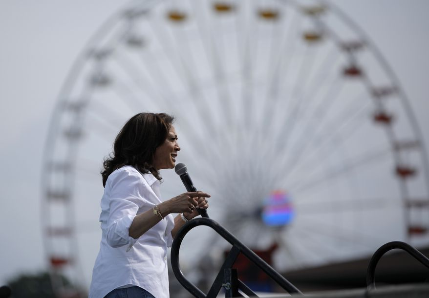 Democratic presidential candidate Sen. Kamala Harris, D-Calif., speaks at the Iowa State Fair, Saturday, Aug. 10, 2019, in Des Moines, Iowa. (AP Photo/John Locher)