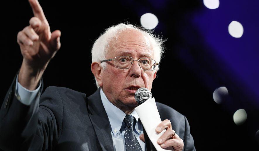 Democratic presidential candidate Sen. Bernie Sanders speaks at the Presidential Gun Sense Forum, Saturday, Aug. 10, 2019, in Des Moines, Iowa. (AP Photo/Charlie Neibergall)