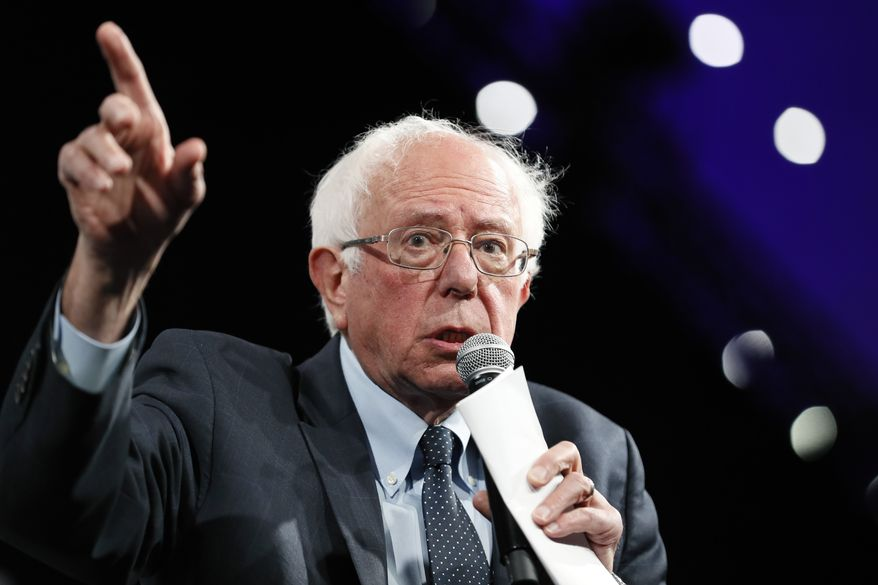 Democratic presidential candidate Sen. Bernie Sanders speaks at the Presidential Gun Sense Forum, Saturday, Aug. 10, 2019, in Des Moines, Iowa. (AP Photo/Charlie Neibergall)