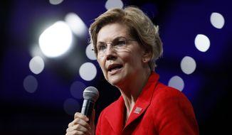 Democratic presidential candidate Sen. Elizabeth Warren speaks at the Presidential Gun Sense Forum, Saturday, Aug. 10, 2019, in Des Moines, Iowa. (AP Photo/Charlie Neibergall)