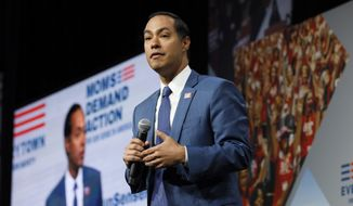 Democratic presidential candidate former U.S. Secretary of Housing and Urban Development Julian Castro speaks at the Presidential Gun Sense Forum, Saturday, Aug. 10, 2019, in Des Moines, Iowa. (AP Photo/Charlie Neibergall)