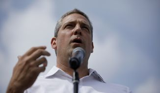 Democratic presidential candidate Rep. Tim Ryan, D-Ohio, speaks at the Iowa State Fair, Saturday, Aug. 10, 2019, in Des Moines, Iowa. (AP Photo/John Locher)