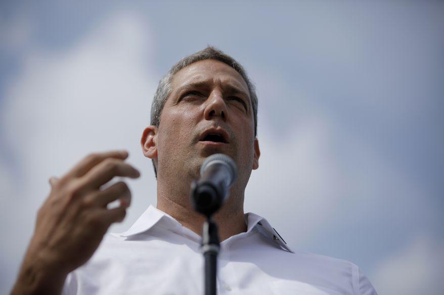 Democratic presidential candidate Rep. Tim Ryan, D-Ohio, speaks at the Iowa State Fair, Saturday, Aug. 10, 2019, in Des Moines, Iowa. (AP Photo/John Locher)