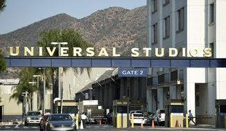 "In this Aug. 23, 2016, file photo, the entrance to the Universal Studios lot is pictured in Universal City, Calif. Universal Pictures has canceled the planned September 2019 release of its controversial social thriller ""The Hunt"" in the wake of recent mass shootings and criticism from President Donald Trump. The studio said in a statement Saturday, Aug. 10, 2019, that it had decided to cancel the film's release altogether, saying ""we understand that now is not the time"" for the film. (Photo by Chris Pizzello/Invision/AP, File)"