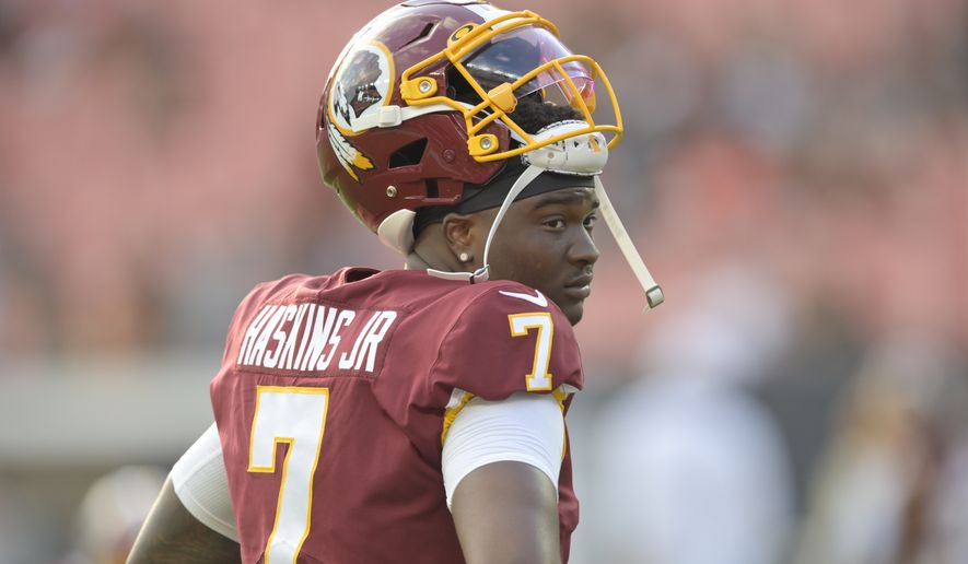 Washington Redskins quarterback Dwayne Haskins reacts before an NFL preseason football game against the Cleveland Browns, Thursday, Aug. 8, 2019, in Cleveland. Cleveland won 30-10. (AP Photo/David Richard) ** FILE **