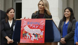 """FILE -- In this April 1, 2019 file photo California first partner Jennifer Siebel Newsom, center, the wife of Gov. Gavin Newsom, joined others to to announce the #EqualPayCA campaign, in Sacramento, Calif. Siebel Newsom has shunned the traditional title of """"first lady"""" and is focusing on women's issues including equal pay and expanding family leave. (AP Photo/Rich Pedroncelli, File)"""