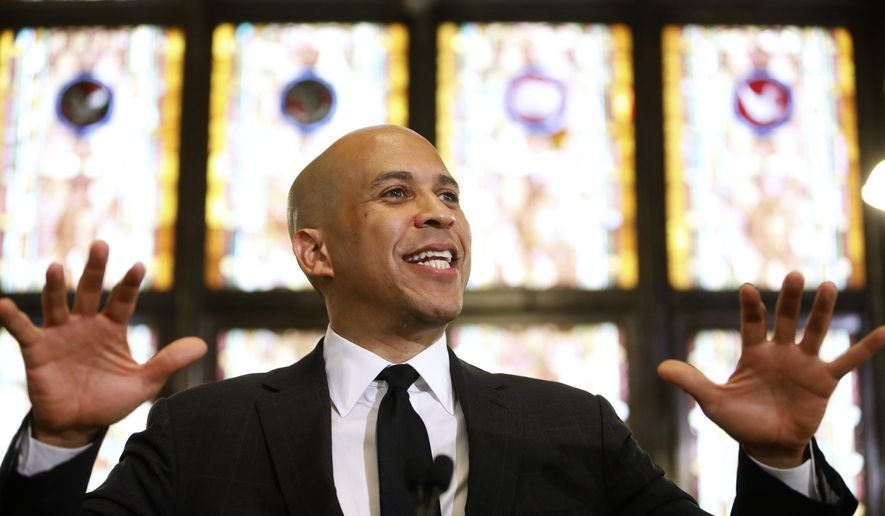 Democratic presidential candidate, Sen. Cory Booker, D-N.J., speaks about gun control at Mother Emanuel AME Church Wednesday, Aug.  7, 2019, in Charleston, S.C.  The church has become synonymous with hate-fueled attacks on people of faith, where nine black Bible study participants were slain in a 2015 racist attack.  (AP Photo/Mic Smith) ** FILE **