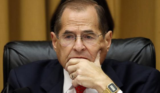 In this July 24, 2019, photo, House Judiciary Committee Chairman Jerrold Nadler, D-N.Y., listens as former special counsel Robert Mueller testifies before the House Judiciary Committee on Capitol Hill, in Washington. (Associated Press) ** FILE **