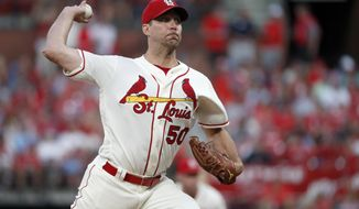 St. Louis Cardinals starting pitcher Adam Wainwright throws during the fifth inning of the team's baseball game against the Pittsburgh Pirates on Saturday, Aug. 10, 2019, in St. Louis. (AP Photo/Jeff Roberson)