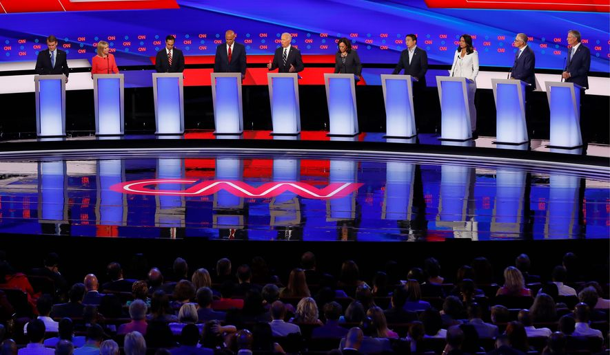 A majority of voters do no care for the crowded stage at Democratic presidential debates, a new poll finds. (Associated Press)