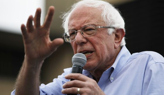 Democratic presidential candidate Sen. Bernie Sanders, I-Vt., speaks at the Iowa State Fair, Sunday, Aug. 11, 2019, in Des Moines, Iowa. (AP Photo/John Locher)