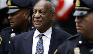 FILE - In this, Sept. 24, 2018 file photo Bill Cosby arrives for his sentencing hearing at the Montgomery County Courthouse, , in Norristown, Pa.  A Pennsylvania appeals court will hear arguments, Monday, Aug. 12, 2019,  as Cosby appeals his sexual assault conviction.  The 82-year-old Cosby is serving a three- to 10-year prison term.  (AP Photo/Matt Slocum, File)