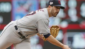 Cleveland Indians pitcher Aaron Civale throws against the Minnesota Twins in the fourth inning of a baseball game Sunday, Aug. 11, 2019, in Minneapolis. (AP Photo/Jim Mone)