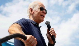 Former Vice President Joe Biden is depicted on the campaign trail in this Aug. 8, 2019, file photo. (AP Photo/Charlie Neibergall) **FILE**